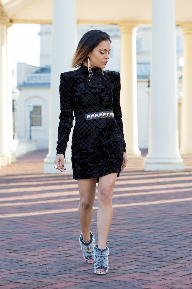 black outfit with fur shoes