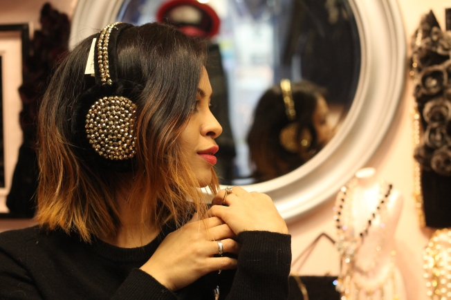 sequined ear mitts